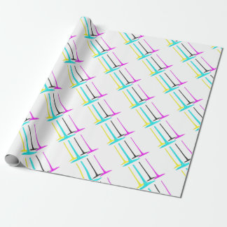 CMYK paint pour on white Wrapping Paper