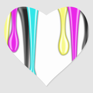CMYK paint splash Heart Sticker