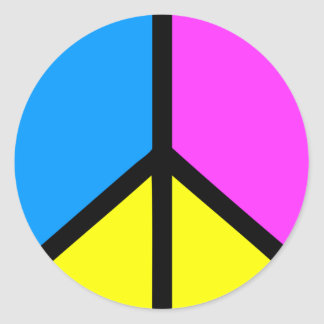 CMYK Peace Sign Classic Round Sticker
