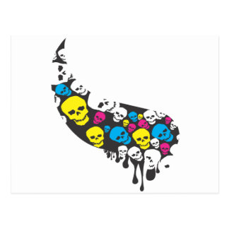 CMYK Skull Swoop Postcard