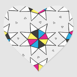 CMYK Star Wheel Heart Sticker