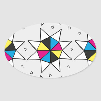 CMYK Star Wheel Oval Sticker