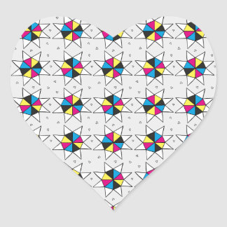 CMYK Star Wheels Heart Sticker