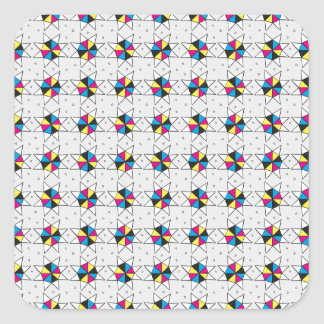CMYK Star Wheels Square Sticker