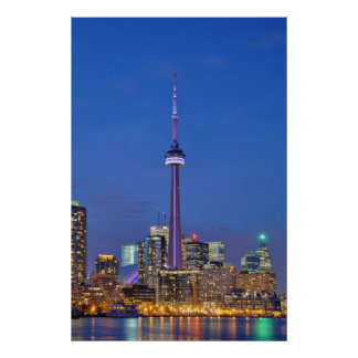 CN Tower Illuminated at Night in Toronto Canada Poster