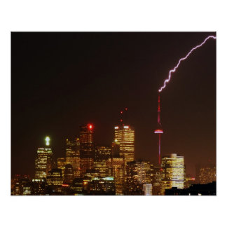 CN Tower in Toronto Lightning Strike Poster
