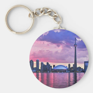 CN Tower : View from Center Island Toronto Basic Round Button Keychain