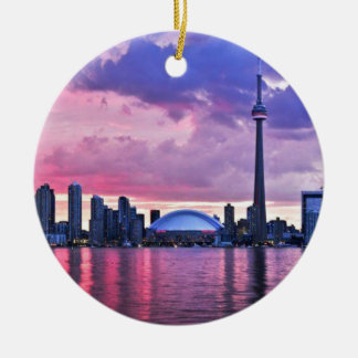 CN Tower : View from Centre Island Toronto Round Ceramic Ornament