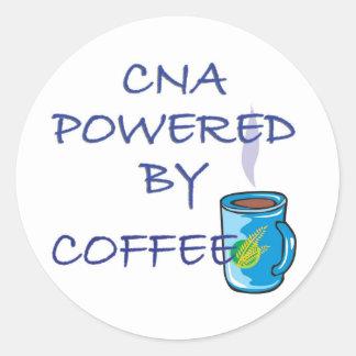 CNA POWERED BY COFFEE ROUND STICKER