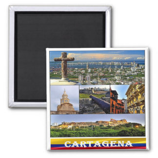 CO - Colombia - Cartagena Mosaic - Collage Square Magnet