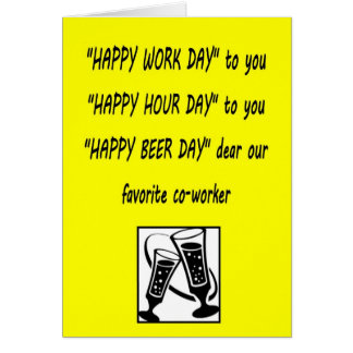Co-worker birthday Happy Beerday greeting card