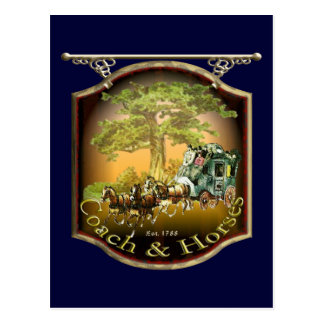 Coach and Horses Pub Sign Postcard