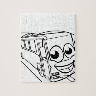 Coach Bus Cartoon Character Mascot Scene Jigsaw Puzzle