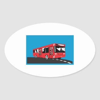 Coach Bus Shuttle Retro Oval Sticker