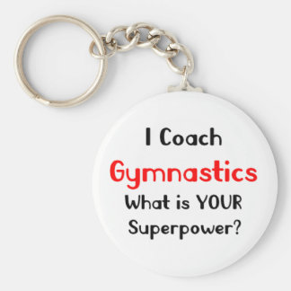Coach gymnastics basic round button keychain