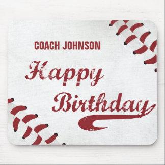 Coach Happy Birthday Large Grunge Baseball, Sport Mouse Pad
