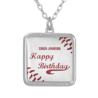 Coach Happy Birthday Large Grunge Baseball, Sport Silver Plated Necklace