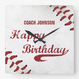 Coach Happy Birthday Large Grunge Baseball, Sport Square Wall Clock