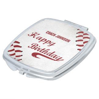 Coach Happy Birthday Large Grunge Baseball, Sport Travel Mirrors