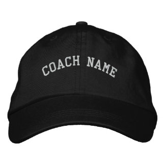 Coach Name Personalized Embroidered  Cap Black Embroidered Hats