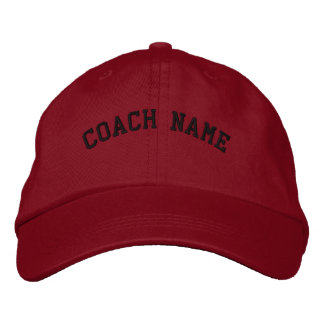 Coach Name Personalized Embroidered  Cap Red Baseball Cap