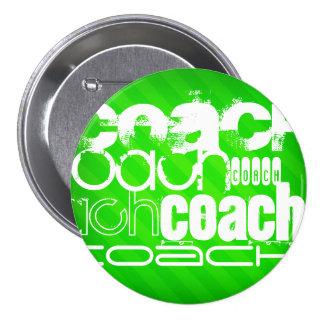 Coach; Neon Green Stripes 3 Inch Round Button