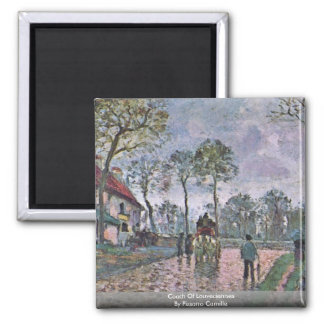 Coach Of Louveciennes By Pissarro Camille Square Magnet