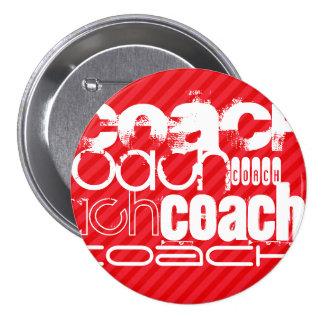 Coach; Scarlet Red Stripes 3 Inch Round Button