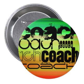 Coach; Vibrant Green, Orange, & Yellow 3 Inch Round Button