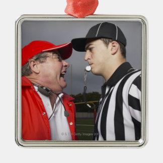 Coach Yelling at Referee Silver-Colored Square Ornament