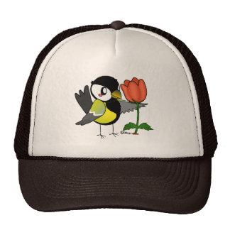Coal bird with a flower trucker hat