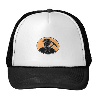 Coal Miner Carry Pick Axe Woodcut Trucker Hat