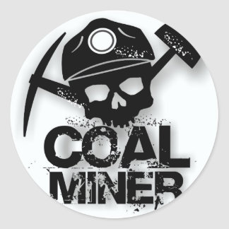COAL MINER SKULL CLASSIC ROUND STICKER