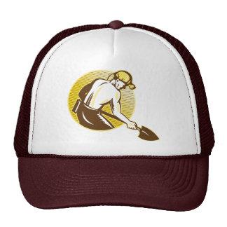 Coal Miner With Shovel Retro Woodcut Retro Trucker Hat