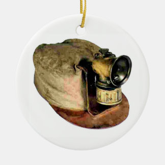 Coal Miner's Cap Ceramic Ornament