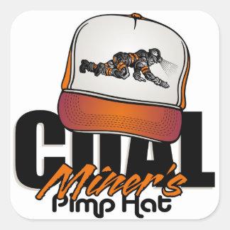 COAL MINER'S PIMP HAT SQUARE STICKER
