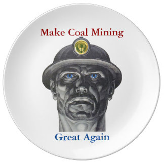 Coal Mining Porcelain Plate