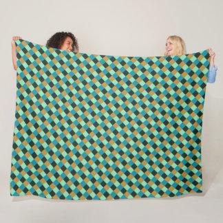 Coal Ochre Teal Green Blue Plaid Fleece Blanket