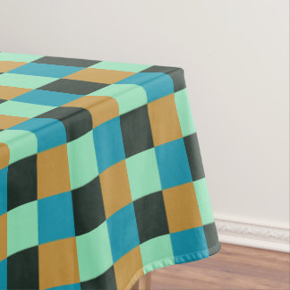 Coal Ochre Teal Green Blue Plaid Tablecloth