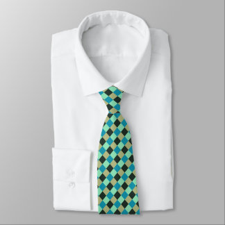 Coal Olive Teal Green Blue Aqua Turquoise Plaid Tie