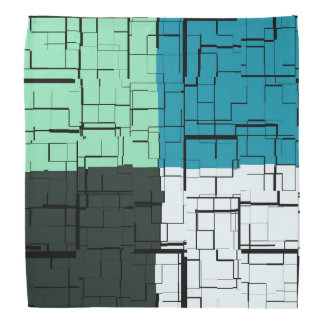 Coal White Teal Green Aqua Blue Modern Pattern Bandana