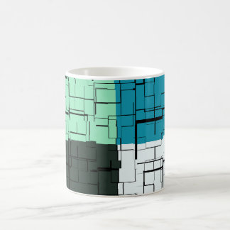 Coal White Teal Green Aqua Blue Modern Pattern Coffee Mug
