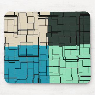Coal White Teal Green Aqua Blue Modern Pattern Mouse Pad