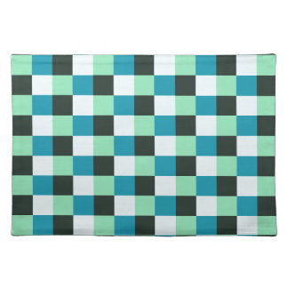 Coal White Teal Green Aqua Blue Modern Pattern Placemat