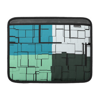Coal White Teal Green Aqua Blue Modern Pattern Sleeve For MacBook Air