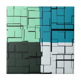 Coal White Teal Green Aqua Blue Modern Pattern Tile