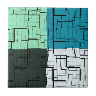 Coal White Teal Green Aqua Blue Modern Pattern Tile