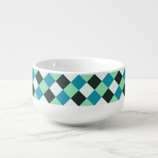 Coal White Teal Green Blue Aqua Turquoise Plaid Soup Mug