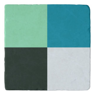 Coal White Teal Green Blue Aqua Turquoise Trivet