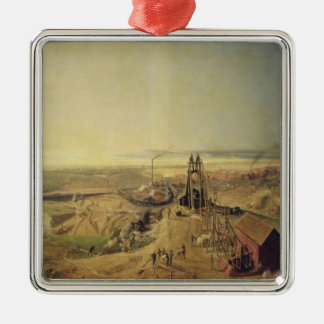 Coalmines and Clay Quarries at Montchanin Silver-Colored Square Ornament